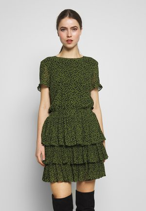 MINI TIER DRESS - Day dress - black/evergreen