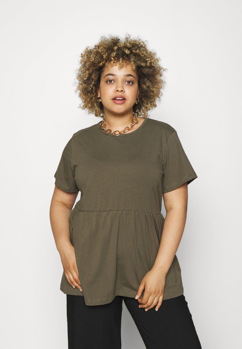 Missguided Plus - PLUS SMOCK - Print T-shirt - khaki