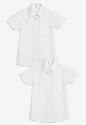 WHITE 2 PACK SHORT SLEEVE CURVED COLLAR SHIRT (3-16YRS) - Button-down blouse - white