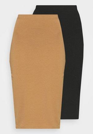 2 PACK - Pencil skirt - black/brown