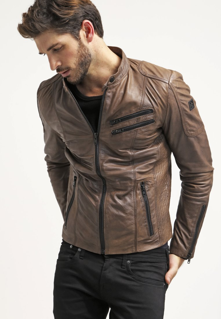 Freaky Nation - DAVIDSON - Leather jacket - wood