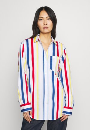 PRINTED POPLIN - Button-down blouse - white