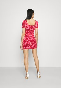 Missguided - DITSY FRILL DETAIL PUFF SLEEVE DRESS - Jerseykjole - red - 2