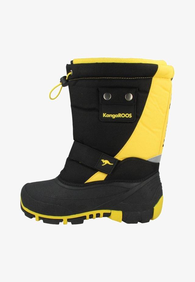 BEAN II - Winter boots - jet black-sun yellow