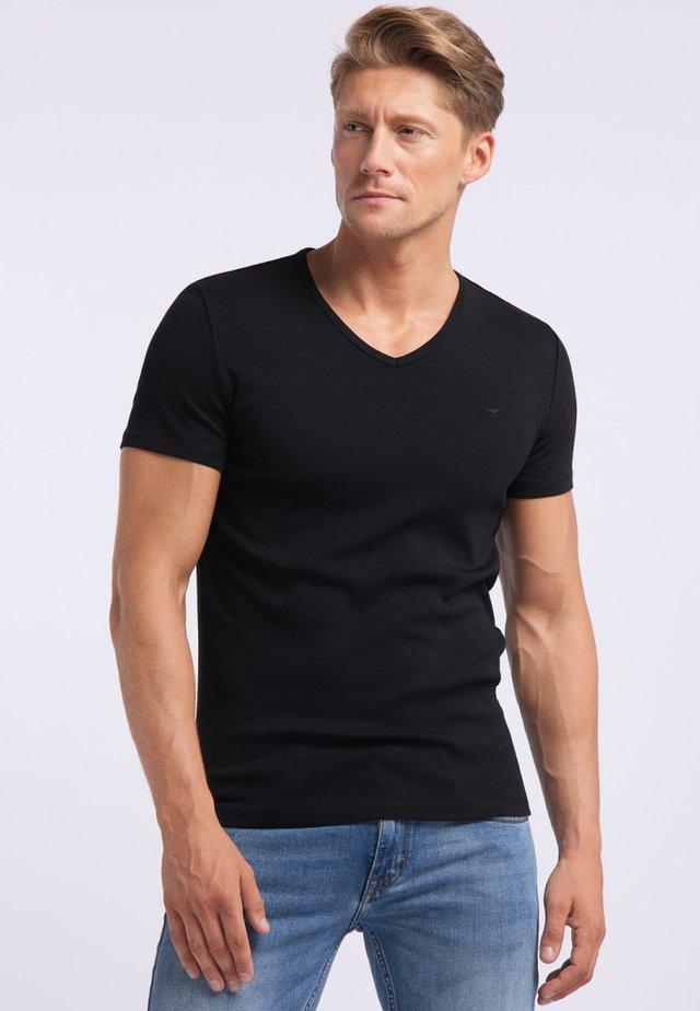 AARON - Basic T-shirt - black