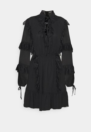 DETAIL SMOCK DRESS - Day dress - black