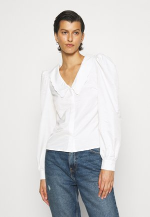 COLLARED V-NECK PUFF SLEEVE - Button-down blouse - off white