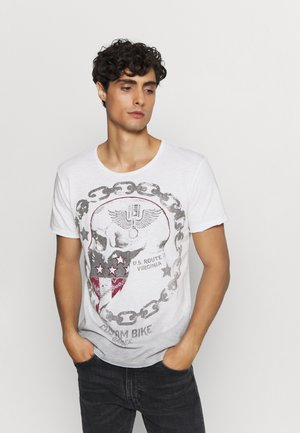 LUCKY ROUND - T-shirt con stampa - offwhite/anthrazit