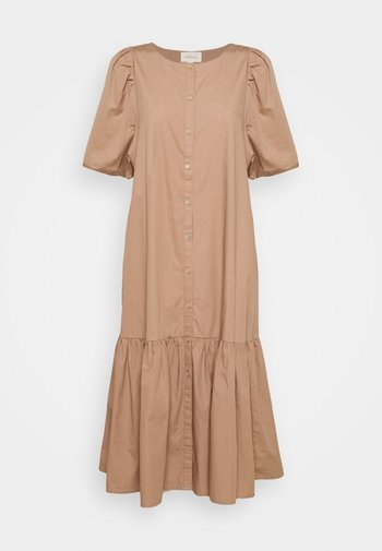 VIVIAN SS MIDI OVERSIZE DRESS - Vestido camisero - brownie