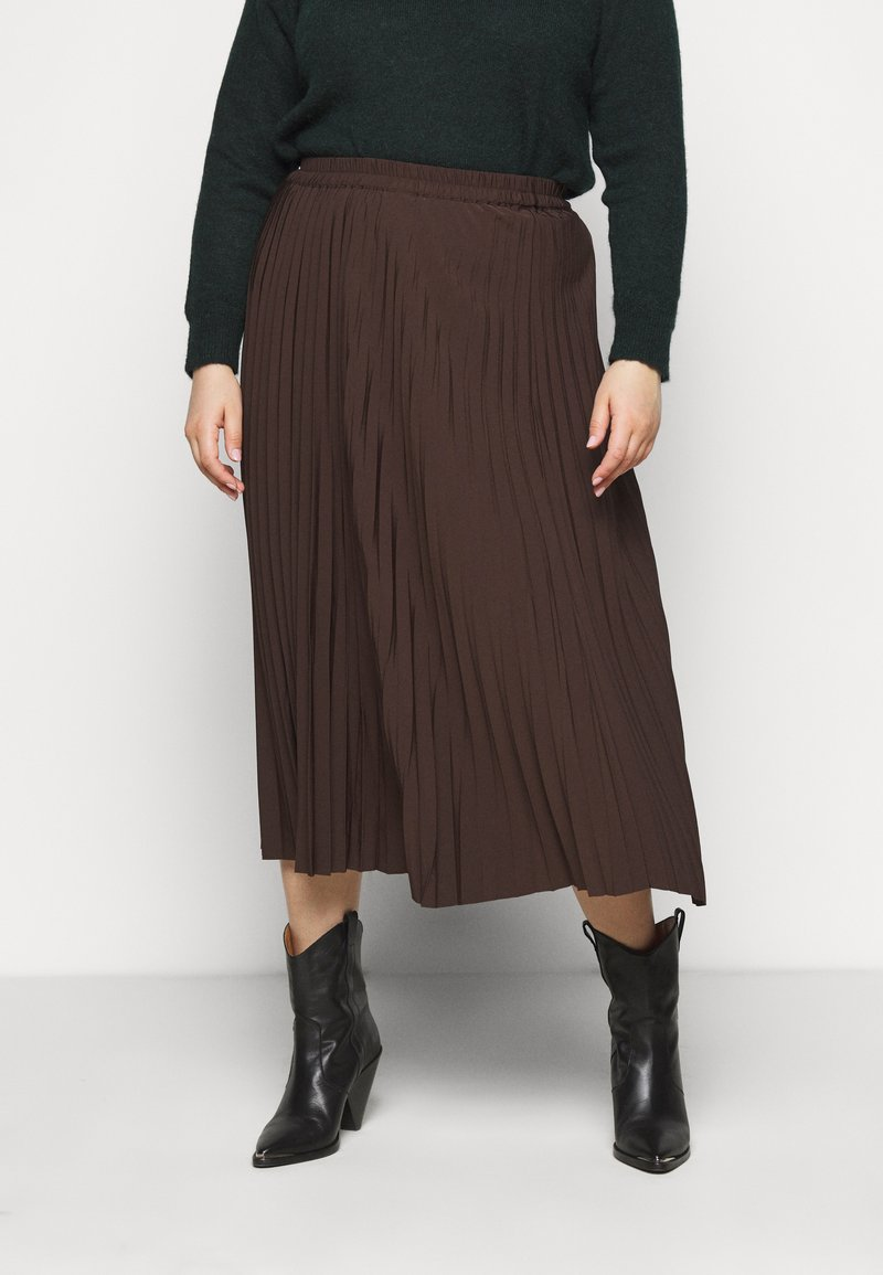Selected Femme Curve - SLFLEXIS MIDI SKIRT - A-line skirt - coffee bean