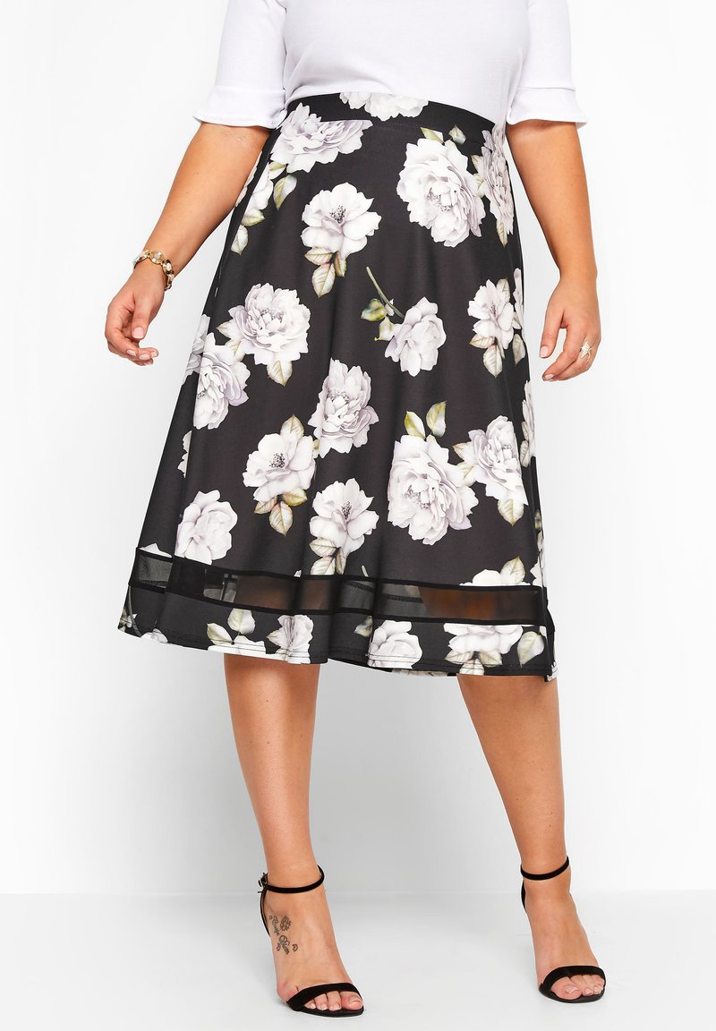 Yours Clothing - LONDON - A-line skirt - black