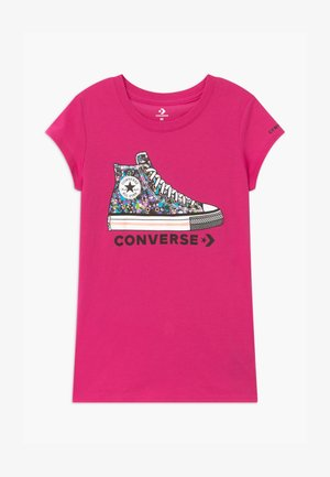 RHINESTONE PRINT CHUCK TEE - T-shirt print - vivid pink