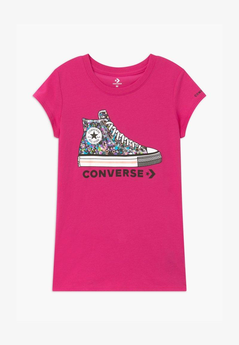 Converse - RHINESTONE PRINT CHUCK TEE - Print T-shirt - vivid pink