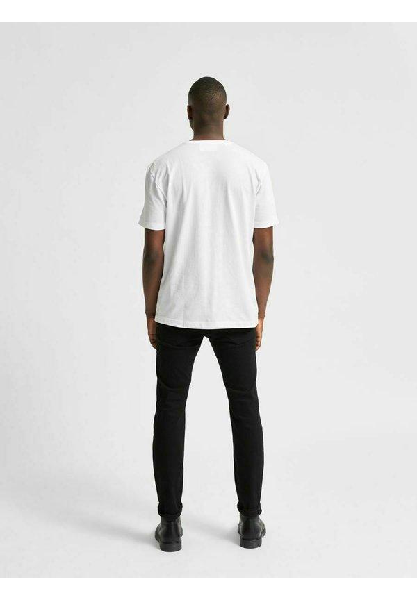 Selected Homme T-shirt z nadrukiem - bright white/mleczny Odzież Męska NWMH