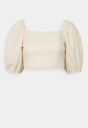 TIE BACK CROP - T-shirt imprimé - cream