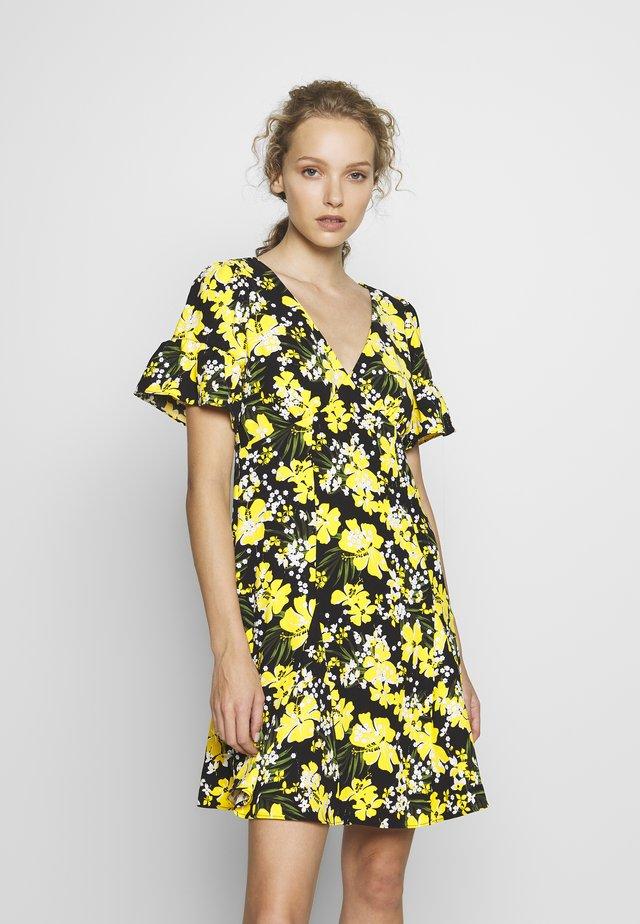 TROP SQN FLARE DRESS - Day dress - black/bright dandelion
