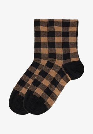 Socks - braun camel gingham print