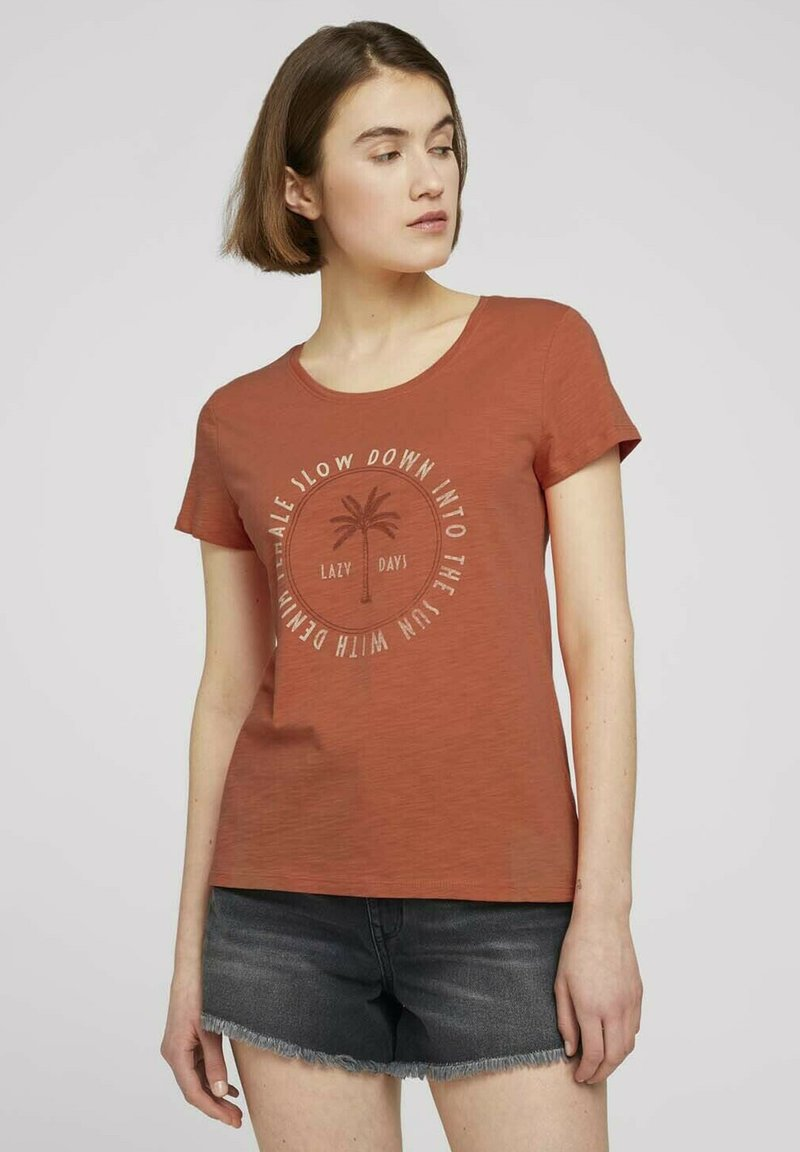 TOM TAILOR DENIM - Print T-shirt - sundown coral