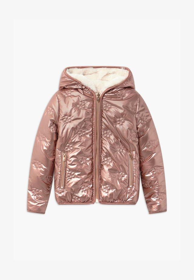 EMBOSSED FLOWER REVERSIBLE HOODED - Winter jacket - rose gold/blanc cassé