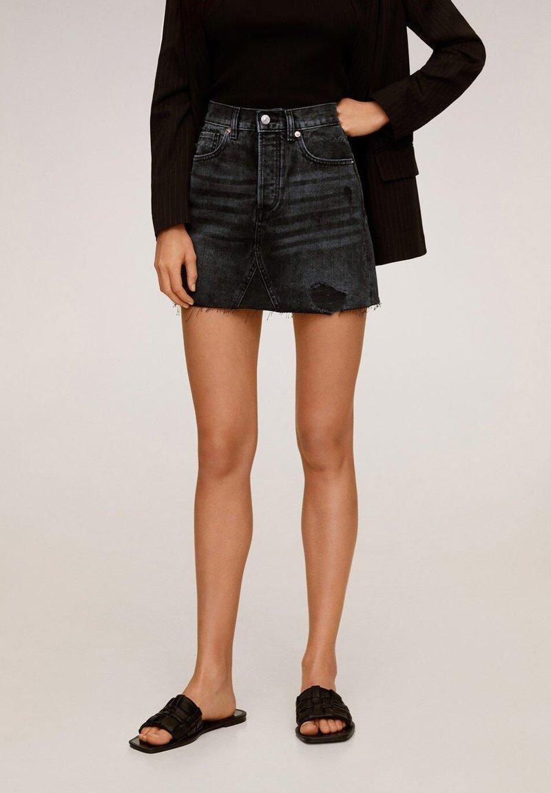 Mango - MONICA - A-line skirt - black denim