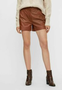 YAS - Leather trousers - tobacco brown - 0