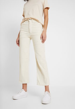 RIBCAGE STRAIGHT ANKLE - Trousers - ecru wide wale