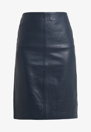 TESSA LEATHER SKIRT - Leather skirt - dark blue