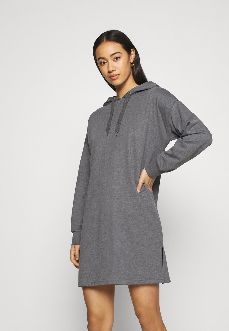 Even&Odd - MINI HOODED LOOSE FIT DRESS - Day dress - mottled grey