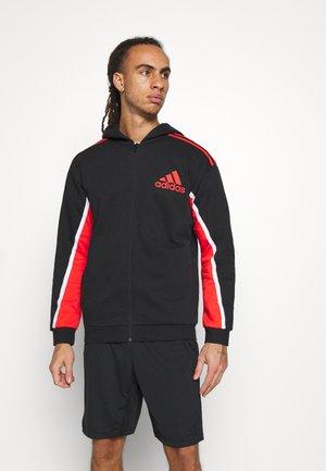 HOODIE - Zip-up hoodie - black/red