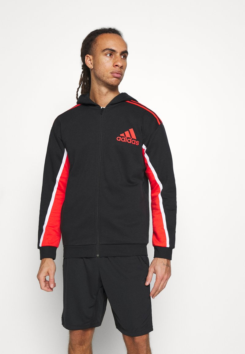 adidas Performance - HOODIE - Zip-up hoodie - black/red