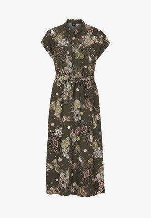 Shirt dress - khaki ornamental print