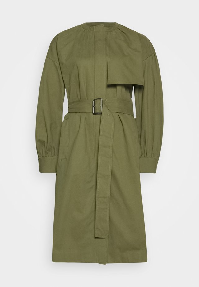 COLLARLESS TRENCH - Trenchcoat - olive