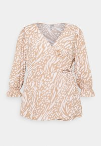 Forever New Curve - MARGOT CURVE PUFF SLEEVE WRAP - Blouse - natural mixed - 3