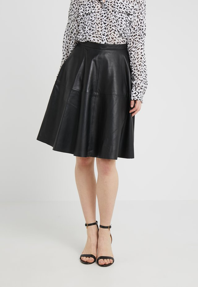 HANNA LEATHER PENCIL - Leather skirt - black