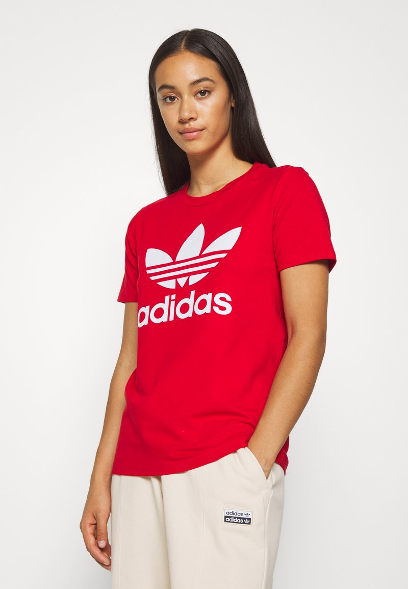 adidas Originals - TREFOIL TEE - Printtipaita - light red