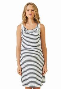 Vertbaudet - Jersey dress - weiß/blau gestreift - 0