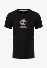 Timberland - STACK LOGO TEE - T-shirt z nadrukiem - black - 4