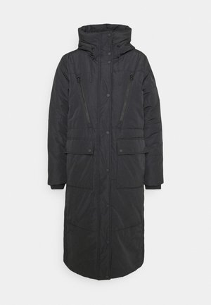 PADDED LONG COAT - Winter coat - deep black