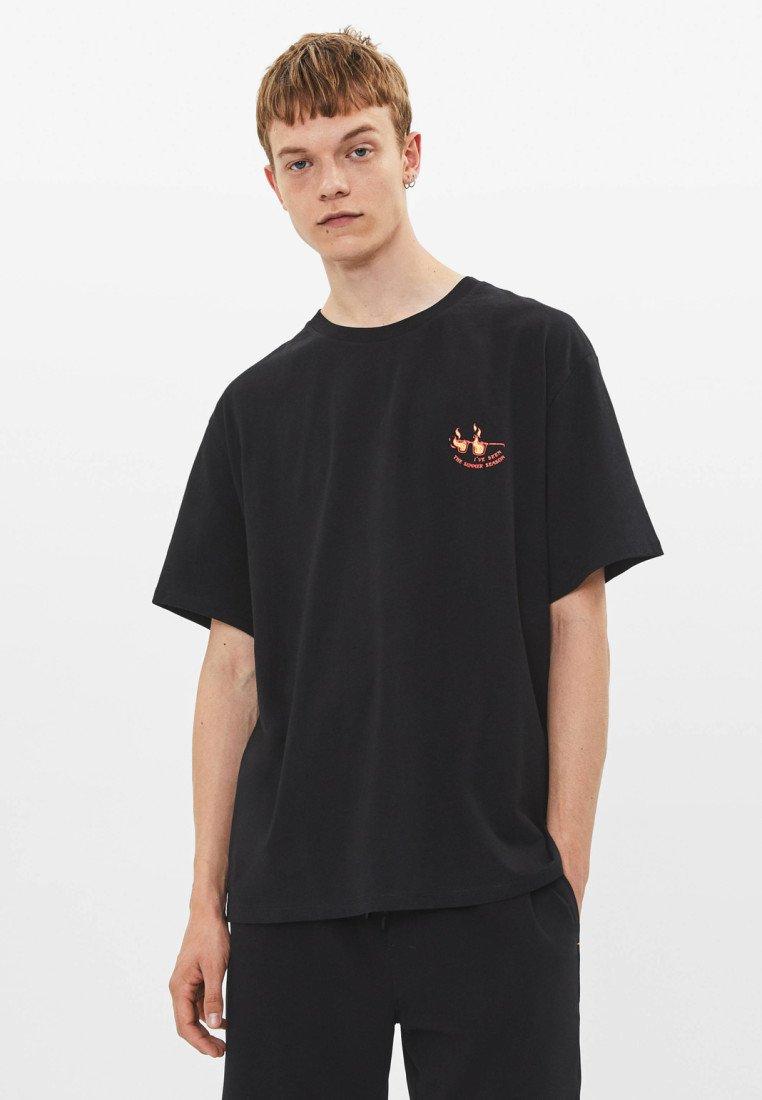 Bershka - Print T-shirt - black