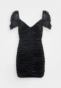 Missguided - COSTELLO RUCHED DETAIL DOBBY PUFF SLEEVE DRESS - Cocktail dress / Party dress - black - 0