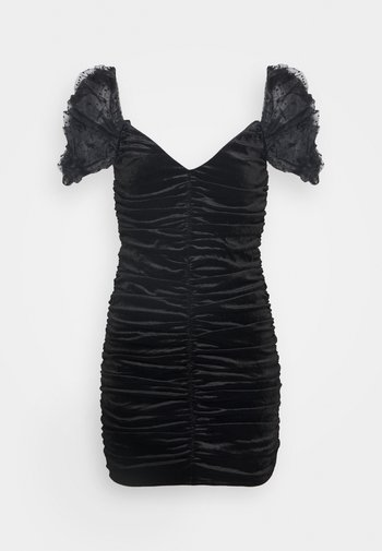 COSTELLO RUCHED DETAIL DOBBY PUFF SLEEVE DRESS - Cocktail dress / Party dress - black