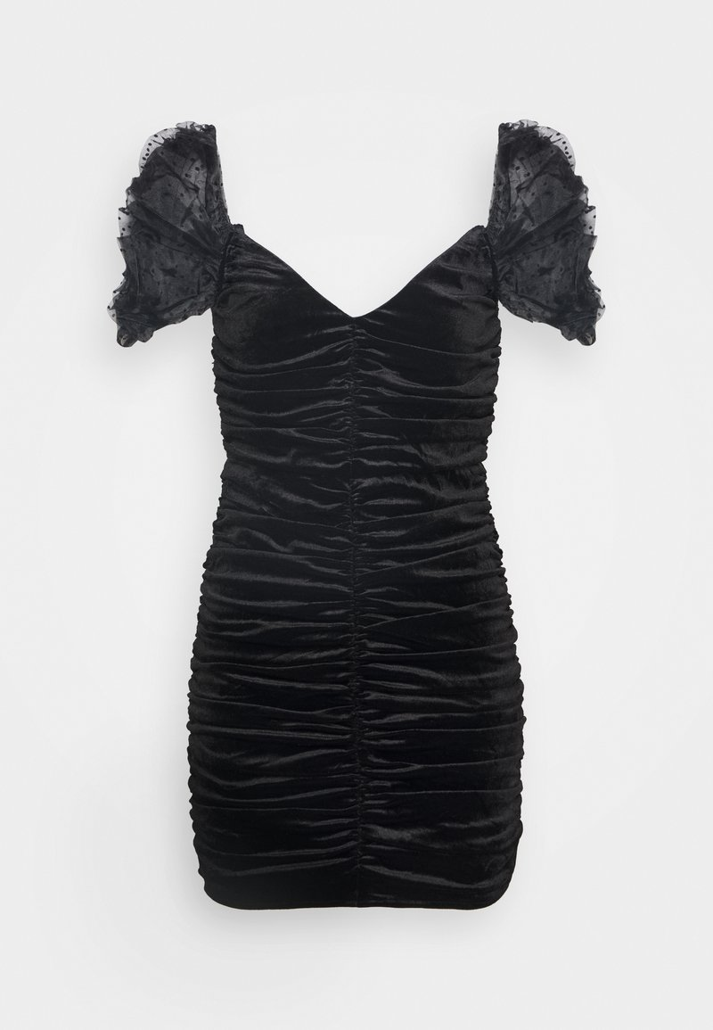 Missguided - COSTELLO RUCHED DETAIL DOBBY PUFF SLEEVE DRESS - Cocktail dress / Party dress - black