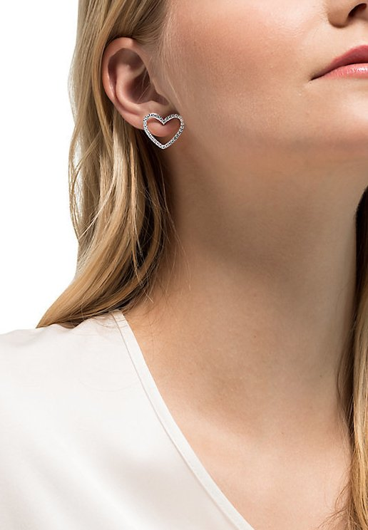 DAMEN-OHRSTECKER EDELSTAHL 64 ZIRKONIA - Earrings - silber