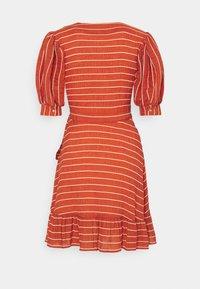 Scotch & Soda - WRAPOVER MIX DRESS IN SEERSUCKER STRIPE - Day dress - rust - 1