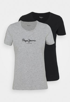 NEW VRIGINIA SHORT SLEEVE 2 PACK - Basic T-shirt - black/grey