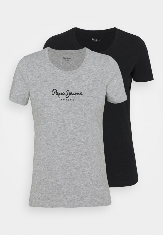 NEW VRIGINIA SHORT SLEEVE 2 PACK - T-shirt basic - black/grey