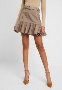 River Island - PRISCILLA FRILL HEM - A-line skirt - stone - 0