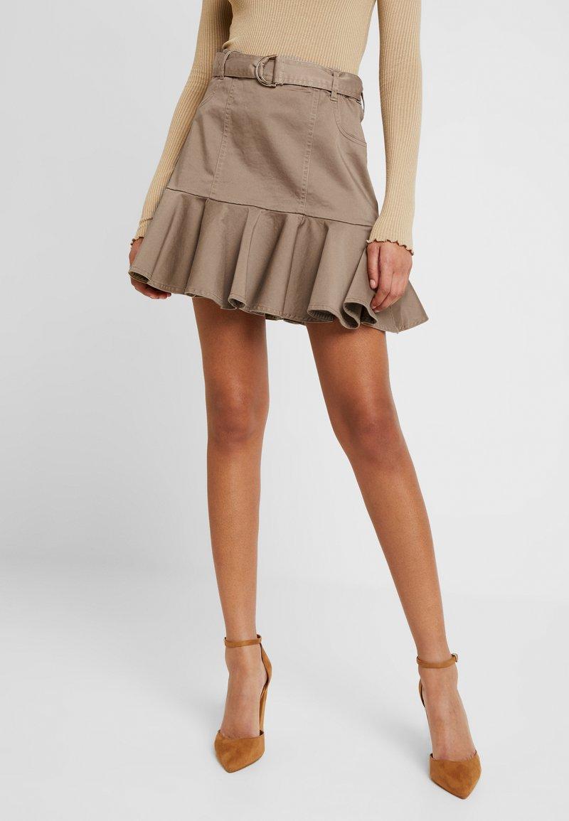 River Island - PRISCILLA FRILL HEM - A-line skirt - stone