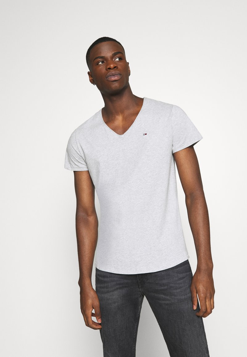 Tommy Jeans - BASIC VNECK TEE SLIM FIT - Print T-shirt - grey heather