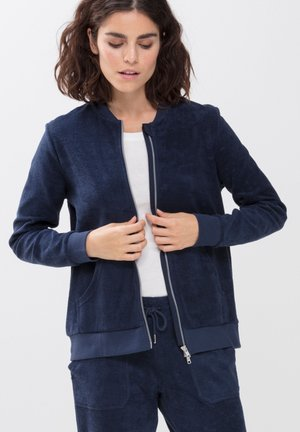 LOUNGEJACKE AUS FROTTEE - Fleece jacket - night blue